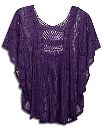 eVogues Sheer Crochet Lace Poncho Top at Amazon Women's