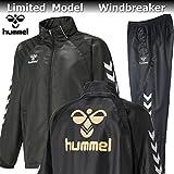 hummel ヒュンメル バックプリント 裏起毛 ウィンドブレーカー ジャケット パンツ 上下 HAW2062B HAW3062 90 ブラック (XO)