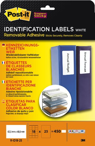 Post-it Super Sticky Lot de 450 étiquettes 63,5 x 46,6 mm pour classeurs, compatibles copie et imprimantes laser/encre (Blanc)