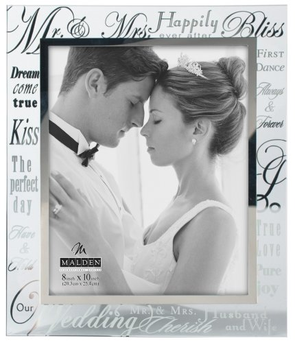 Malden Mirrored Glass Wedding Picture Frame, Mr. and