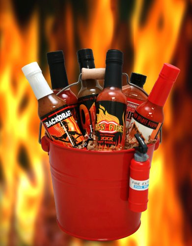 Blazing Bucket of Fire Hot Sauce Basket (Backdraft Hot Sauce compare prices)