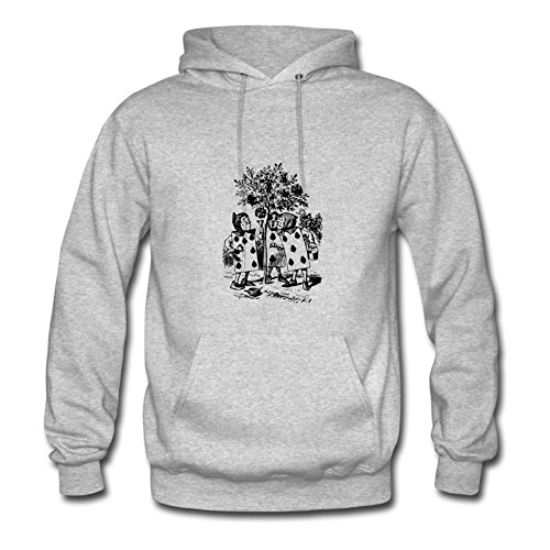 Men Alice In Wonderland Card Hoody - Styling Printed Grey