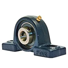 "VXB UCP202-10 Ball Bearing Pillow Block, 2 Bolt Holes, Setscrew Locking Collar, 5/8"" Bore Diameter, Cast Iron, Inch"