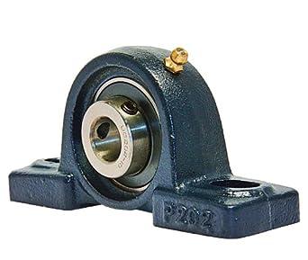 "VXB UCP202-10 Ball Bearing Pillow Block, 2 Bolt Holes, Setscrew Locking Collar, 5/8"" Bore Diameter, Cast Iron, Inch"