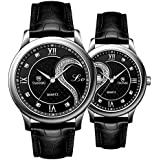 Tiannbu Fq-102 Ultrathin Leather Romantic Black Pair Fashion Wrist Watches for Couple Men Women(set of 2)