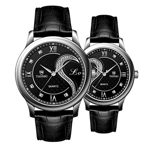 Foxqueena Tiannbu Fq-102 Ultrathin Leather Romantic Black Pair Fashion Wrist Watches for Couple Men Women(set of 2)