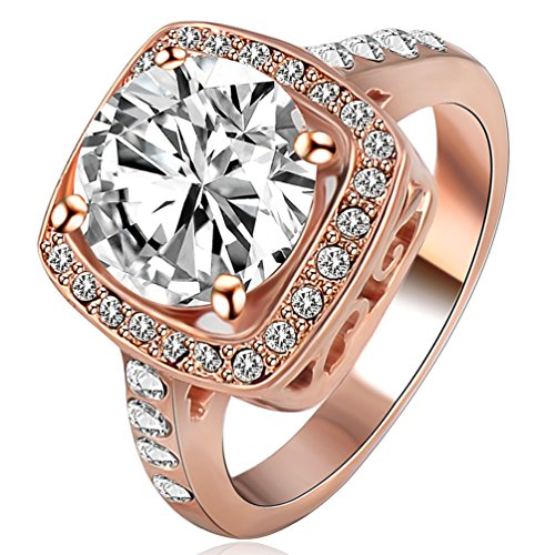 FENDINA Jewelry 18K Rose Gold Plated Wedding Engagement Rings Bling Cubic Zirconia Crystal for (Please Return To Tiffany And Co compare prices)