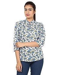 Kiosha Blue Cotton 3/4th Sleeves shirt for women
