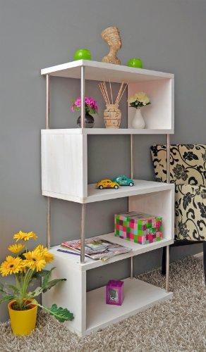 Libreria da parete, mobile divisorio, scaffale per ufficio, mobile portaoggetti a ripiani, in bianco anticato effetto