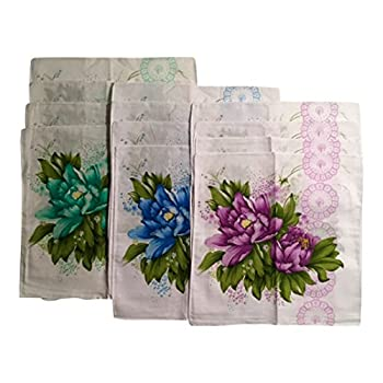 "Women's Vintage Inspired Cotton Bold Flowered Handkerchiefs 11""x11"" Pack of 12"