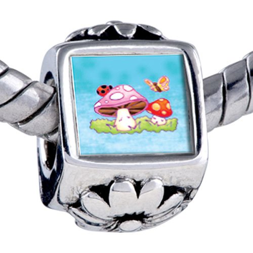 Pugster Bead Mushrooms Butterfly Beads Fits Pandora Bracelet