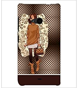 PrintDhaba Smart Girl D-1359 Back Case Cover for MICROSOFT LUMIA 535 (Multi-Coloured)