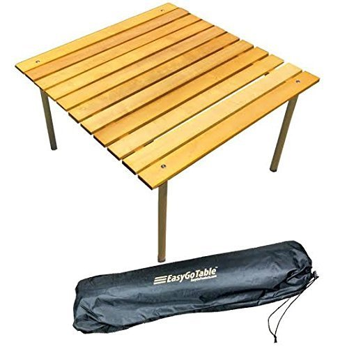 "Big Save! EasyGo Products Portable Wood Table That Fits in a Bag 27.25"" Square Great for Campin..."
