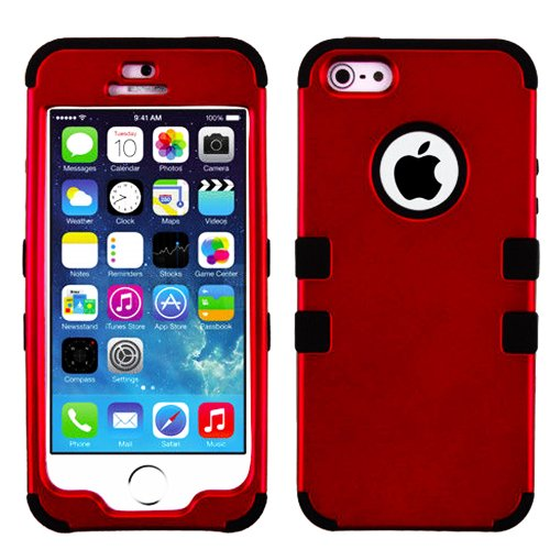 Mylife (Tm) Black And Dark Red - Colorful Robot Series (Neo Hypergrip Flex Gel) 3 Piece Case For Iphone 5/5S (5G) 5Th Generation Itouch Smartphone By Apple (External 2 Piece Fitted On Hard Rubberized Plates + Internal Soft Silicone Easy Grip Bumper Gel +