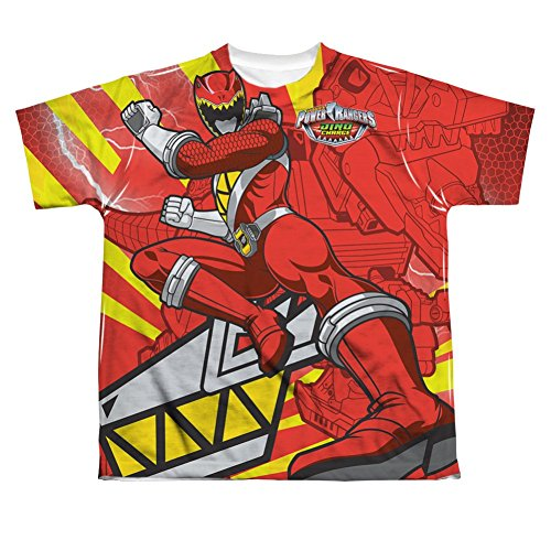 Power Rangers Red Ranger Kick All Over Youth Front T-Shirt