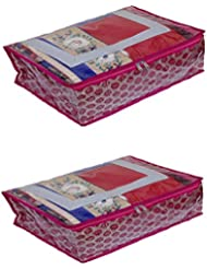 Kuber Industries Saree Cover Fancy Brocade Set Of 2 Pcs (Pink) With Capacity Of 10-12 Sarees