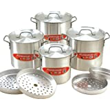 Cook N Home 12-Piece Aluminum Tamale Steamer Set (4 Pots, 4 Lids and 4 Steamer Racks)