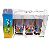 Merritt International Rainbow Acrylic Drinkware Gift Set of 4 Teardrop Tumbler Glasses