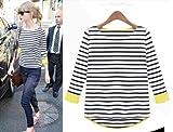 [百足ーHYAKUTARUー]2013秋 ボーダーTシャツ 袖口 ネオンカラー 長袖 七分丈 2色 ブラック ブルー