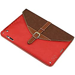 liangdongshop Vintage Style 360 Degree Rotating Leather Case for iPad Air 2 (iPad 6) with Kickstand & Back Pocket (Red+Brown)