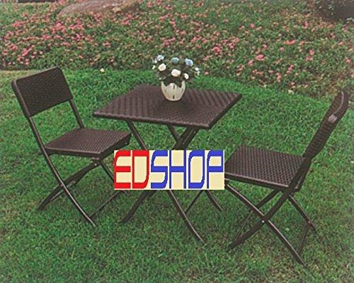 set giardino tavolo pieghevole set tavolo + 2 sedie pieghevole rattan pic nic terrazzo giardn