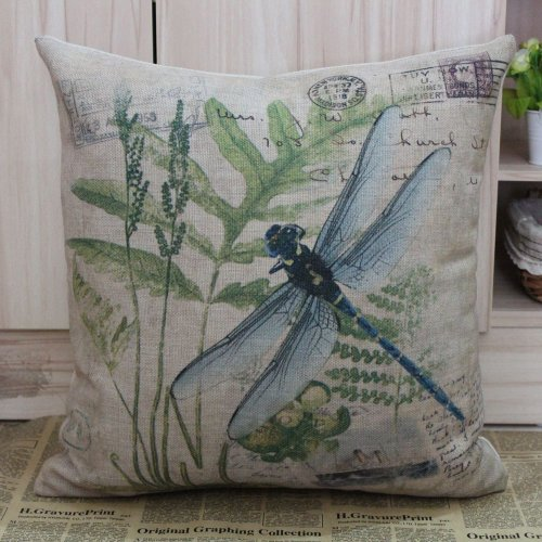 45*45Cm Retro Vintage Green Paris Country Dragonfly Linen Cushion Cover Postmark front-91230