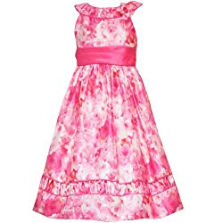 Rare Editions Girls PLUS 10.5-18.5 Coral Water-Color-Rose Print Shantung Dress