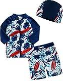 [Vaenait Baby] 2-7歳ラッシュガード水泳スイムウェアベビー 子供水着上下キャップ 3点セット Tahiti M