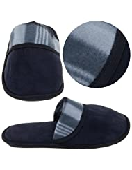 Black Plaid Slippers for Men
