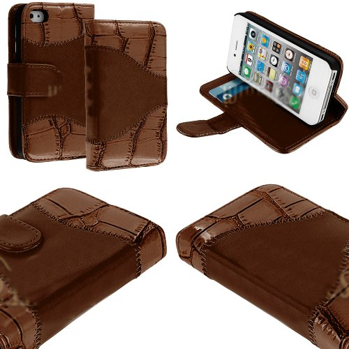 Mylife (Tm) Chocolate Brown Crocodile Skin Design - Textured Koskin Faux Leather (Card And Id Holder + Magnetic Detachable Closing) Slim Wallet For Iphone 4/4S (4G) 4Th Generation Touch Phone (External Rugged Synthetic Leather With Magnetic Clip + Interna