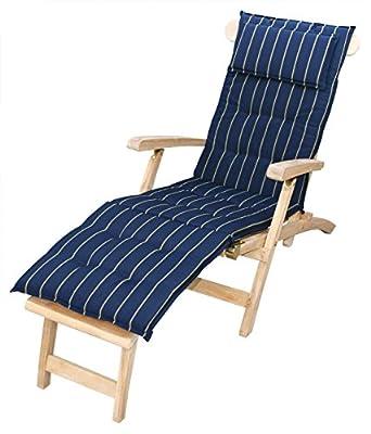 """KMH®, Auflage """"Navy"""" für Relaxliege + Deckchair (marineblau/gestreift) (#105034) von KMH mbh - Gartenmöbel von Du und Dein Garten"""
