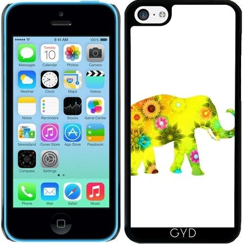 coque-pour-iphone-5c-style-mammifere-elephant-colore-by-wonderfuldreampicture