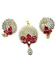 Poddar Jewels Cubic Zirconia Red Stylish Pendant Set