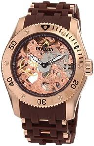 Invicta Men's 1260 Sea Spider Mechanical Skeleton Dial Brown Polyurethane Watch