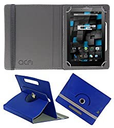 Acm Rotating 360° Leather Flip Case For Ice Spectra Beat Tablet Cover Stand Dark Blue