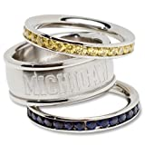 University of Michigan Logo Crystal Stacked Ring Set