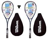 2 x Wilson Pro 900 Squash Rackets + 3 Wilson Squash Balls RRP £110