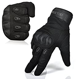 FREETOO® Mens Tactical Gloves Hard Knuckle Full Finger Adjustable Outdoor Sport/Fitness Black XL
