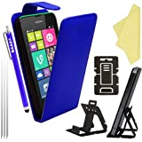 BAAS® Nokia Lumia 530 Flip PU Leather Case Cover with 2x Screen Protector , Stylus Pen & Desktop Stand