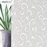 Rabbitgoo No Glue Static Tinted Patterns Privacy Glass Window Films 3ft By 6.5ft(90cm By 200cm)