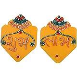 999Store Handmade Multicolour Wooden Katavrag Yellow Shubh Labh Diwali Door Hanging