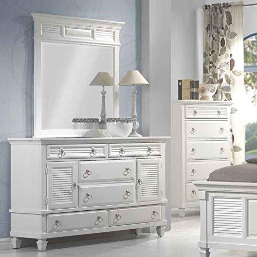 Roundhill Furniture Regitina 016 Bedroom Dresser with Mirror, Queen/King, White