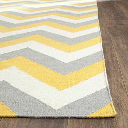 Safavieh Dhurries Collection DHU640A Hand Woven Gold and Grey Wool Area Rug, 4 feet by 6 feet (4' x 6')