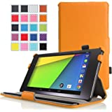 Google New Nexus 7 FHD 2nd Gen Case - MoKo Slim-Fit Multi-angle Stand Cover Case for Google Nexus 2 7.0 Inch 2013 Generation Android 4.3 Tablet, ORANGE (With Smart Cover Auto Wake / Sleep Feature)