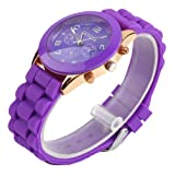 YKS Purple Unisex Geneva Silicone Jelly Gel Quartz Analog Sports Wrist Watch