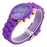 YKS Purple Unisex Geneva Silicone Jelly Gel Quartz Analog Sports Wrist Watch
