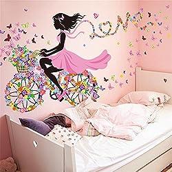 Wandaufkleber/Wandtattoo/Wandsticker CIDBEST® Kreative Romantische Fahrrad Mädchen DIY dekorative Wandaufkleber PVC abnehmbare Sofa Hintergrund Schlafzimmer Wohnzimmer Dekoration Aufkleber Wandaufkleber