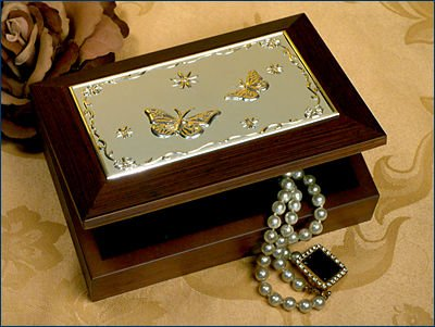 Wooden Jewelry Box w/ Embossed Silver Plated Butterflies