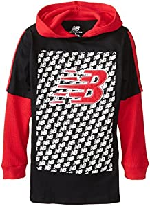 New Balance Boy's 8-20 Long Sleeve Jersey and Thermal Hooded Hang Down, Black/Red, 10-12