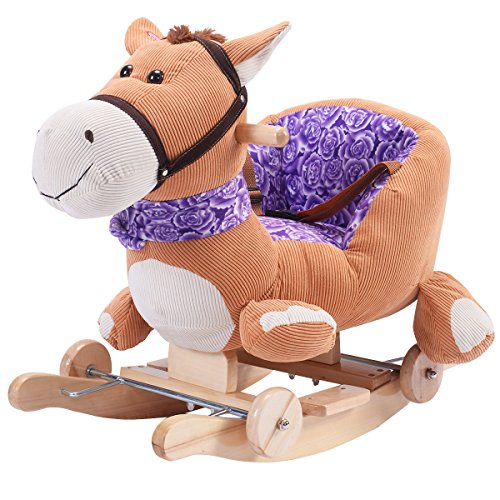 Costzon Baby Kids Toy Plush Rocking Horse Rider Toddler Seat wood Rocker w/ Sound wheel